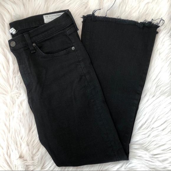 rag & bone Denim - Rag & Bone Black Crop Flare Jeans